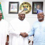 R-L: Speaker, Lagos State House of Assembly, Rt. Hon. Mudashiru Obasa; Lagos State Governor, Mr Akinwunmi Ambode; and Speaker, Kebbi State House of Assembly and Chairman, Conference of Speakers of State Legislature, Rt. Hon. Ismaila Kamba