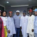 Lagos State Governor, Mr. Akinwunmi Ambode (middle); National Leader, All Progressives Congress (APC), Asiwaju Bola Ahmed Tinubu (3rd right); APC Chairman, Lagos State Chapter, Alhaji Tunde Balogun (2nd right); Party Secretary, Dr. Wale Ahmed (right); APC Lagos Deputy Chairman, Chief Sunny Ajose (3rd left); Women Leader, Lagos State, Hon. Jumoke Okoya-Thomas (2nd left) and APC Chairman, Onigbogbo LCDA, Alhaja Iyabo Akerele (left)