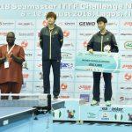 R-L: Lagos State Governor, Mr. Akinwunmi Ambode; runner up of the Women's Singles of 2018 ITTF Nigeria Open, Sun Chen from China; the winner, Guo Yan from China, President, International Table Tennis Federation (ITTF), Engr. Ishaku Tikon and Mr. Adebisi Adebutu