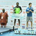 R-L: Lagos State Governor, Mr. Akinwunmi Ambode; runner up of the Men's Singles of 2018 ITTF Nigeria Open, Hachard Antoine from France; the winner, Quadri Aruna; President, International Table Tennis Federation (ITTF), Engr. Ishaku Tikon and Mr. Adebisi Adebutu
