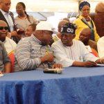 Lagos State Governor, Mr. Akinwunmi Ambode (2nd left); National Leader, All Progressives Congress (APC), Asiwaju Bola Ahmed Tinubu (2nd right); APC Chairman, Lagos State Chapter, Alhaji Tunde Balogun (right) and Speaker, Lagos State House of Assembly, Rt. Hon. Mudashiru Obasa (left)