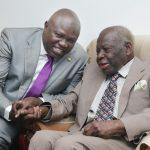 Lagos State Governor, Mr. Akinwunmi Ambode (left), with the celebrant, Chief Akintola Williams