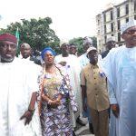 R-LPresident Muhammadu Buhari,  APC National Chairman, Comrade Adams Oshiomhole, APC Women Leader, Imo State Governor Rocharles Okorocha and others