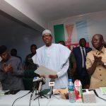 President Muhammadu Buhari (M) flanked by the Vice President Yemi Osinbajo, APC National Chairman, Comrade Adams Oshiomhole and Imo State Governor Owelle Rocharles Okorocha