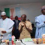 L-R;President Muhammadu Buhari, APC National Chairman, Comrade Adams Oshiohole,APC National Secretary Alahi Mai Buni