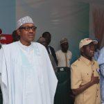 L-R; President Muhammadu Buhari, APC National Chairman, Comrade Adams Oshiomhole, APC National Secertray Mai Buni