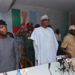 L-R; Vice President Yemi Osinbajo, President Muhammadu Buhari, APC National Chairman, Comrade Adams Oshiomhole, APC National Secretary Mai Buni
