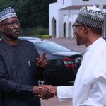 R-L; President Muhammadu Buhari chats with SGF Mr Boss Mustapha