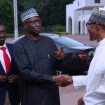 R-L; President Muhammadu Buhari, SGF Mr Boss Mustapha, NSA Major General Babagana Munguno
