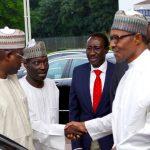 R-L; President Muhammadu Buhari, SGF Mr Boss Mustapha, NSA MajorGeneral Babagana Munguno, Administrative Officer, Alahaji Abubakar Maikano