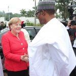 R-L;  President Muhammadu Buhari Receives the German Chancellor, H.E Angela Merkel