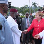 R-L; President Muhammadu Buhari, German Chancellor H.E Angela Merkel, Chief of Staff, Mallam Abba Kyari and SGF, Mr. Boss Mustapha