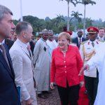 R-L; German Chancellor, H.E Angela Merkel introduces his delegation to Presient Muhammadu Buhari among whom are Jan Hecker and German Ambbasador to Nigeria, Mr Dietmar Kreusel and others