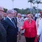 R-L; German Chancellor, H.E Angela Merkel introduces his delegation to Presient Muhammadu Buhari to the delegation among whom are Jan Hecker, Lars-Hendrik Roller, Hunter Nooke and German Ambbasador to Nigeria, Mr Dietmar Kreusel and others