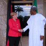 R-L; President Muhammadu Buhari receives the German Chancellor H.E Angela Merkel