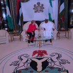 R-L; President Muhammadu Buhari Chats with German Chancellor H.E Angela Merkel