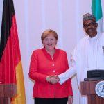 R-L; President Muhammadu Buhari and the German Chancellor H.E Angela Merkel