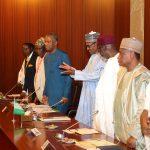 Nigerian President Muhammadu Buhari and his delegation