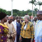 PRESIDENT BUHARI RECEIVES UK PM THERESA MAY 12. R-L President Muhammadu Buhari, British Prime  Minister Theresa May, SSAP Media and Publicity, Mallam Garba Shehu. SSAP Diaspora and International Affairs, Hon Abike Dabire-Ewera during the visit at the State House in Abuja. PHOTO; SUNDAY AGHAEZE. AUGUST 29 2018