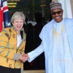President Muhammadu Buhari receives the UK Prime Minister Theresa May  d