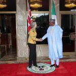 President Muhammadu Buhari receives the UK Prime Minister Theresa May