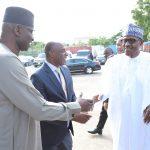 President Muhammadu Buhari, receives by Minister of Transportation, Mr Rotimi Amaechi and SGF Mr Boss Mustapha