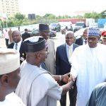 President Muhammadu Buhari receives byKogi State Governor, Yahaya Bello, Plateau State Governor, Mr Simon Lalong,  Minister of Transportation, Mr Rotimi Amaechi and SGF Mr Boss Mustapha