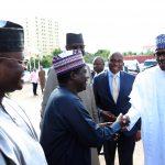 President Muhammadu Buhari, receives by, Plateau State Governor, Mr Simon Lalong,  Minister of Transportation, Mr Rotimi Amaechi and SGF Mr Boss Mustapha