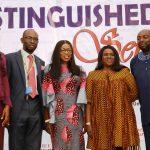 Wife of the Lagos State Governor, Mrs. Bolanle Ambode (middle); Vice Chancellor, Lagos State University (LASU), Prof. Olanrewaju Fagbohun (2nd left); guest speakers, Mrs. Dan-Faparusi Ogugua Enitan (left); veteran actors, Joke Silva (2nd right) and Segun Arinze (right)