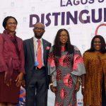 Wife of the Lagos State Governor, Mrs. Bolanle Ambode (4th right); Vice Chancellor, Lagos State University (LASU), Prof. Olanrewaju Fagbohun (4th left); guest speakers, Mrs. Dan-Faparusi Ogugua Enitan (3rd left), veteran actors, Joke Silva (3rd right); Segun Arinze (right); Dean, Students Affairs, Dr. Femi Obayori (2nd left); SUG President, Olalere Moshood (left) and his vice, Nurat Ashade (2nd right)