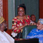 L-R; Minister of Water Resources, Alhaji Sulieman Adamu, Head of Civil Service of the Federation, Mrs Winifred Oyo-Ita and Minister f Women Affairs, Senator Aisha AlHassan