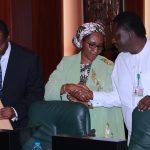 L-R; Minister of Budget and National Planning, Sen Udoma Udo Udoma, Supersing Minister of Finance, Hajiya Zainab Ahmed
