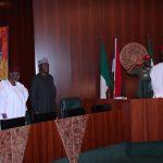 R-L; President Muhammadu Buhari, SGF Mr Boss Mustapha,Chief of Staff, Mallam Abba Kyari and Heads of Civil Service of the Federation, Mrs Winifred Oyo-Ita