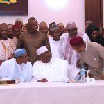 President Muhammadu Buhari Chats with Chairman of the Group,, Hon Farouk Adamu Aliyu,  Hon ChukwuEmeka Nwajiuba, Festus Kayemo