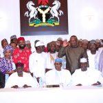 President Muhammadu Buhari (M) flanked by Chief of Staff, Mallam Abba Kyari, SGF Mr. Boss Mustapha, Chairman of the Group, Hon Farouk Adamu Aliyu,  Hon ChukwuEmeka Nwajiuba, Festus Kayemo