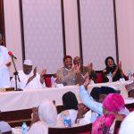 President Muhammadu Buhari addresses the group among whom are Chairman of the Group,, Hon Farouk Adamu Aliyu,  Hon ChukwuEmeka Nwajiuba and others