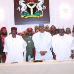 President Muhammadu Buhari (M) flanked by Chief of Staff, Mallam Abba Kyari, SGF Mr. Boss Mustapha, Chairman of the Group,, Hon Farouk Adamu Aliyu,  Hon ChukwuEmeka Nwajiuba and others