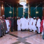 President Muhammadu Buhari (M) flanked by the Chief of Staff Mallam Abba Kyari, Leaders of the delegation, His Majesty Eze Dr. Isaac Ikonne, Enyi 1 of Aba and others Prince Paul Ikonne, Chief Mark Nwagbara, Barr Ugboaja, Dr Nyerere C. Anyim, HRH Eze F.E. Otuka, Eze J.I Ahunaya, HRH Eze F.U. Emejuru, HRH Eze A.N.Ujoatu