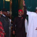 R-L; President Muhammadu Buhari endorsed Prince Paul Ikonne while Chief Mark Nwagbara, Barr Ugboaja looks on