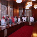 R-L;  President Muhammadu Buhari, Leaders of the delegation, His Majesty Eze Dr. Isaac Ikonne, Enyi 1 of Aba, Prince Paul Ikonne, Lioness Imaan Sulaiman-Ibrahim, HRH Eze J.O Atulobi, HRH Eze A.N Ujoatu, Eze J.I Ahunanya, HRH Eze F.U. Emejuru, HRH Eze A.N.Ujoatu and others