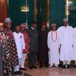 R-L; Minister of Interior, Lt General Abdulrahman Dambazzau, Chief of Staff Mallam Abba Kyari, President Muhammadu Buhari, Leaders of the delegation, His Majesty Eze Dr. Isaac Ikonne, Enyi 1 of Aba, Prince Paul Ikonne, Chief Mark Nwagbara, Barr Ugboaja, Dr Nyerere C. Anyim, HRH Eze F.E. Otuka, Eze J.I Ahunaya, HRH Eze F.U. Emejuru, HRH Eze A.N.Ujoatu