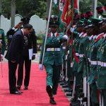 The New Ambassador the Republic of Korea to Nigeria, H.E Comrade Jon Tong Chol at the Parade of guards
