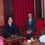 President Muhammadu Buhari chats with the New Ambassador Republic of Korea to Nigeria, H.E Comrade Jon Tong Chol accompanied by his wife, Sok Ran Hui.  his interpreter and First Secretary, Kim Chon Il (M)