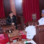 President Muhammadu Buhari chats with New High commissioner to Nigeria, H.E Gloria Corina Peter Tiwet and her Husband, Mr Nithiyanathan Kumarassamy