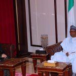 President Muhammadu Buhari chats with New High commissioner to Nigeria, H.E Gloria Corina Peter Tiwet