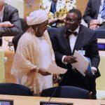 Wife of the President Mrs. Aisha Muhammadu Buhari confers with the Minister of Health Prof Isaac Adewole