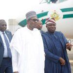 President Muhammadu Buhari (left), with Lagos State Governor, Mr. Akinwunmi Ambode (right)