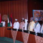 L-R; President Muhammadu Buhari, Kano State Governor, Alhaji Abdullahi Umar Ganduje, Cheikh Mahi Cisse, Cheikh Shafiu Niass, Alhaji Muhammad, Cheikh Buba Niass, Sherif Hadi Nema, Cheikh Moustapha Niass
