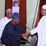 President Muhammadu Buhari in a handshake with Governor Oyo State, Senator Abiola Ajimobi, Kebbi State Governor, Senator Abubakar Atiku Bagudu and Niger State Governor, Alhaji Abubakar Sani Bello