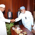 President Muhammadu Buhari in a handshake with the Governor of Ondo Mr Rotimi Akeredolu